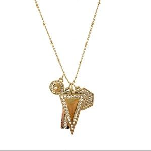 WHBM Long Gold Geometric Statement Necklace